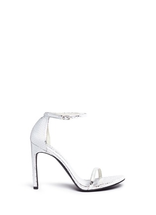 Main View - Click To Enlarge - Stuart Weitzman - 'Nudist Song' crack effect metallic leather sandals