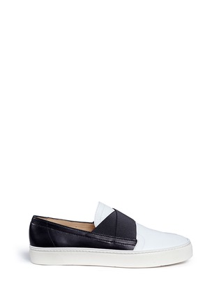 Main View - Click To Enlarge - Stuart Weitzman - 'Flex' elastic strap colourblock leather skate slip-ons