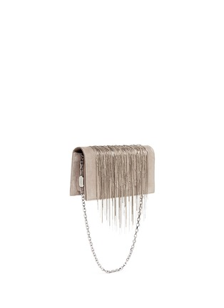 Front View - Click To Enlarge - Stuart Weitzman - 'Angel Hair' fringe suede chain clutch
