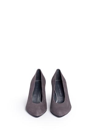 Front View - Click To Enlarge - Stuart Weitzman - 'Choke Up' block heel suede pumps