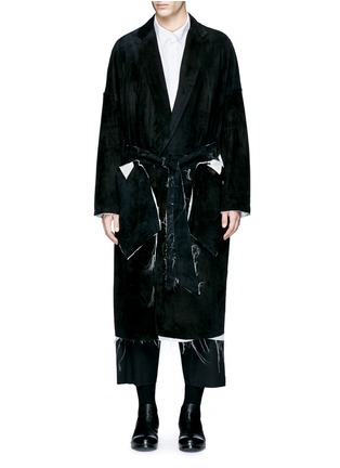 Main View - Click To Enlarge - Sulvam - Raw edge lining belted suede coat