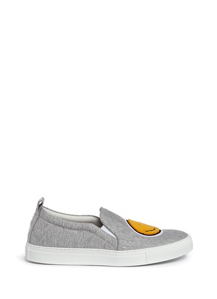 Main View - Click To Enlarge - Joshua Sanders - 'Smile' fleece patch jersey skate slip-ons