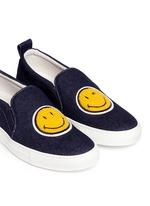 'Smile' bouclé appliqué denim skate slip-ons
