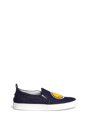 Main View - Click To Enlarge - Joshua Sanders - 'Smile' bouclé appliqué denim skate slip-ons