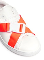 Neon buckle strap leather sneakers