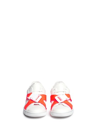 Joshua Sanders - Neon buckle strap leather sneakers