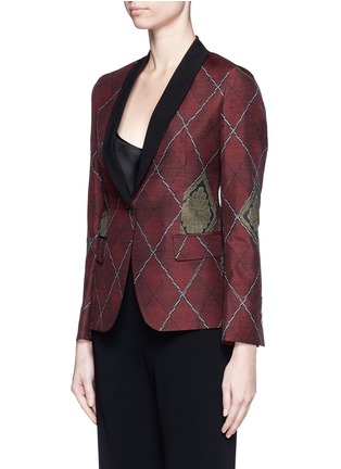 Front View - Click To Enlarge - IBRIGU - One of a kind argyle pattern silk jacquard blazer