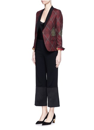 Figure View - Click To Enlarge - IBRIGU - One of a kind argyle pattern silk jacquard blazer
