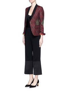 IBRIGU One of a kind argyle pattern silk jacquard blazer