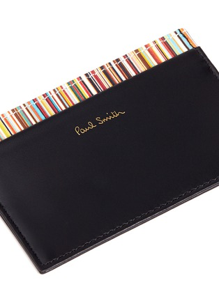 Detail View - Click To Enlarge - Paul Smith - Stripe print leather cardholder