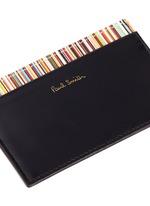 Stripe print leather cardholder