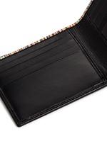 Stripe print interior leather bifold wallet