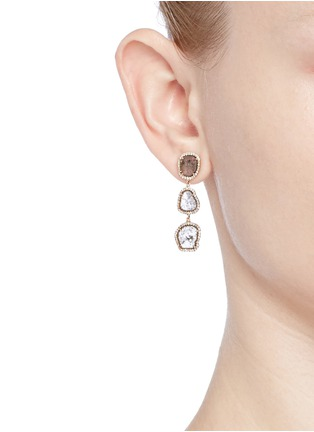 Figure View - Click To Enlarge - Monique Péan - Diamond slice 18k recycled rose gold drop earrings