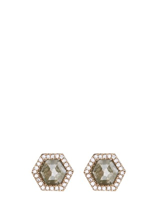 Main View - Click To Enlarge - Monique Péan - Diamond slice hexagon 18k white gold earrings