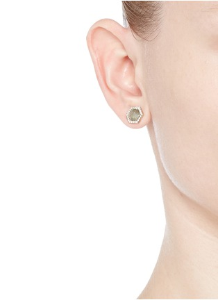 Figure View - Click To Enlarge - Monique Péan - Diamond slice hexagon 18k white gold earrings