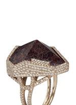 Diamond pavé fossilised dinosaur bone 18k recycled gold cocktail ring