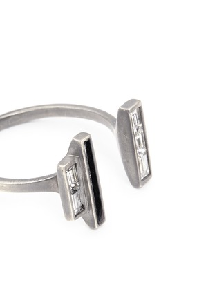 Monique Péan - Diamond Guatemalan jade 18k recycled white gold open ring