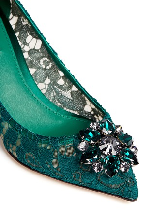 Detail View - Click To Enlarge - Dolce & Gabbana - 'Bellucci' jewel brooch lace pumps