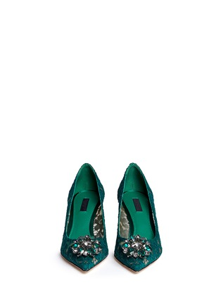 Figure View - Click To Enlarge - Dolce & Gabbana - 'Bellucci' jewel brooch lace pumps