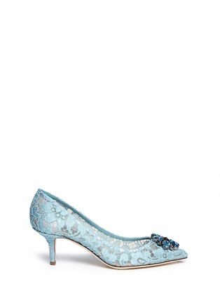 Main View - Click To Enlarge - Dolce & Gabbana - 'Bellucci' jewel brooch lace pumps