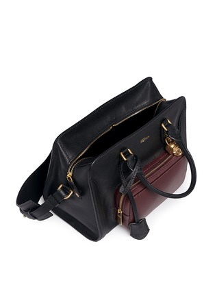 Detail View - Click To Enlarge - Alexander McQueen - 'Padlock' contrast pocket leather tote
