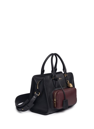 Figure View - Click To Enlarge - Alexander McQueen - 'Padlock' contrast pocket leather tote