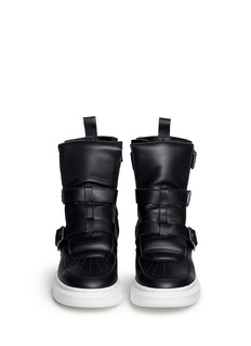 ALEXANDER MCQUEEN Chunky outsole buckle leather sneaker boots