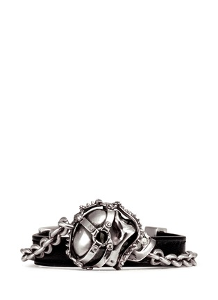 Main View - Click To Enlarge - Alexander McQueen - Harness skull leather bracelet