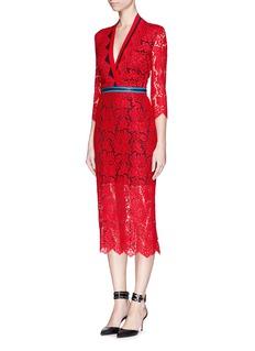 PREEN BY THORNTON BREGAZZI'Sloane' stripe trim zip lace dress