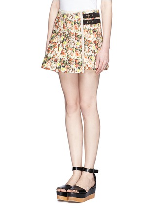 Front View - Click To Enlarge - MSGM - Flower print leather trim pleated canvas skirt