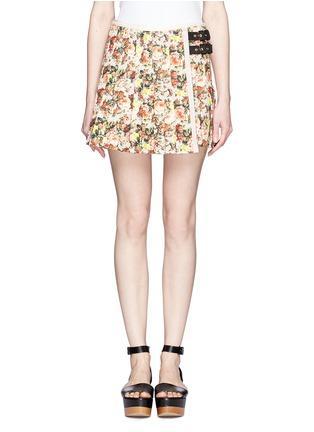 Main View - Click To Enlarge - MSGM - Flower print leather trim pleated canvas skirt
