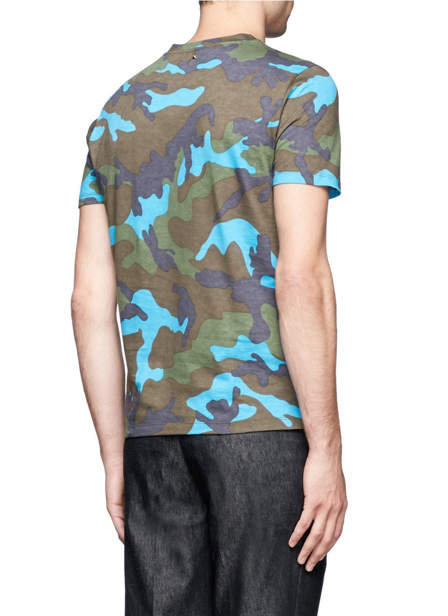 Valentino Camouflage Print Cotton T Shirt On Sale