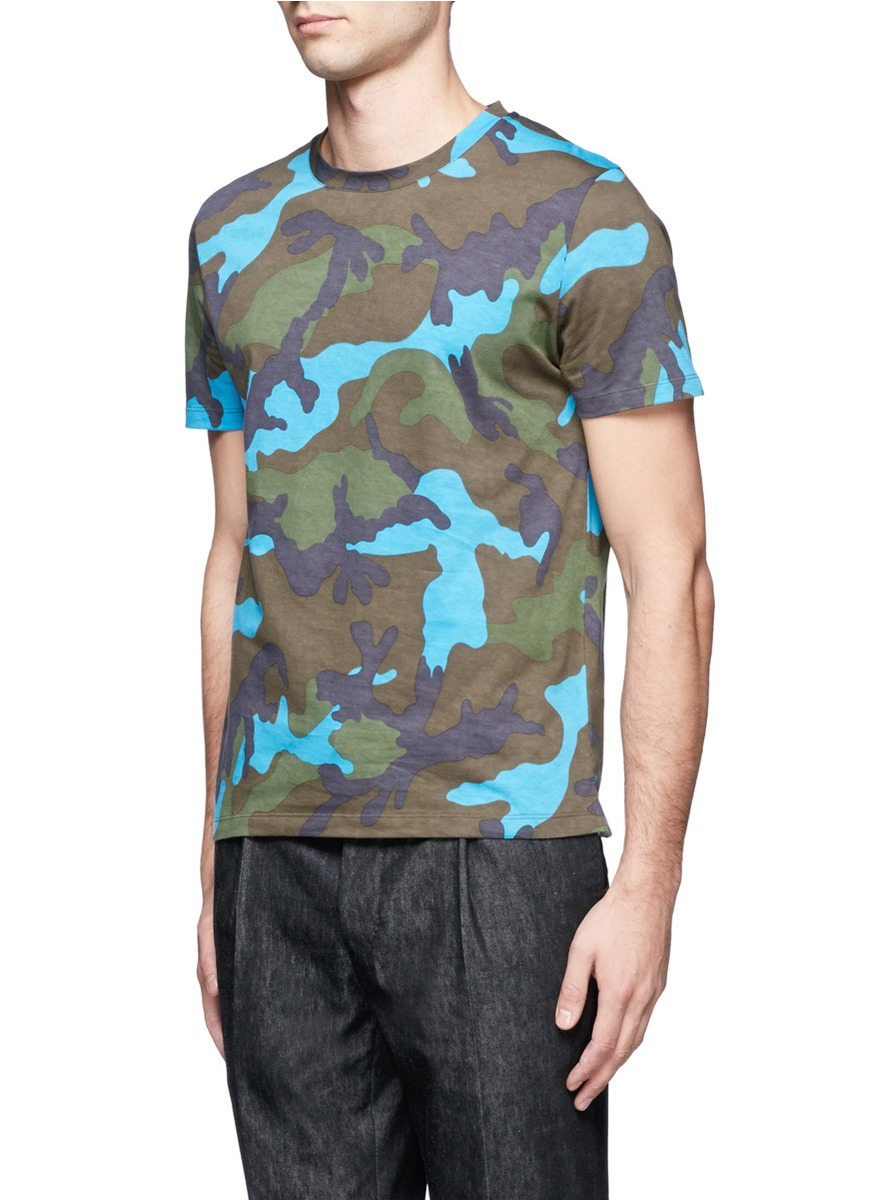 Valentino camouflage print cotton t shirt on sale for Camouflage t shirt printing