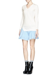 CARVEN Wool sweater combo dress with taffeta skirt