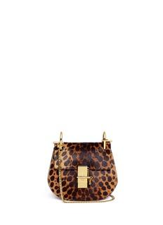 CHLOÉ'Drew' mini leopard print pony hair shoulder bag