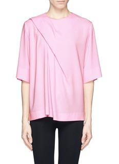 MSGMDiagonal pleat drape crepe top