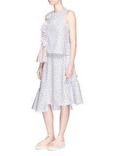 Shushu/TongRuffle trim floral print sleeveless top