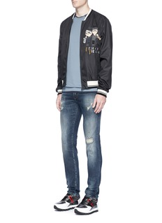 Dolce & GabbanaCrown embroidered contrast collar T-shirt
