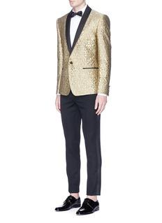 Dolce & GabbanaMetallic curlicue jacquard shawl lapel blazer