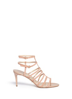 Paul Andrew 'Herringbone' caged suede and leather sandals