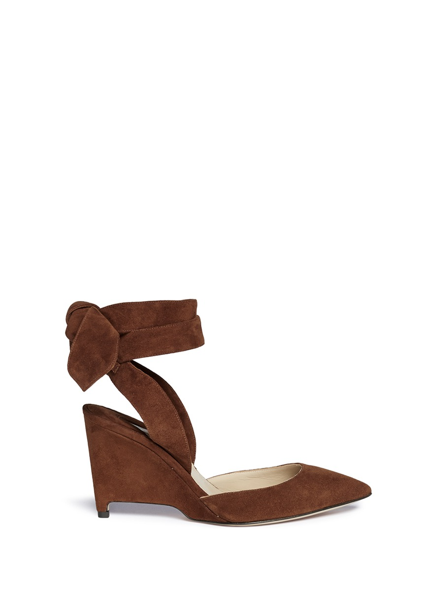 Tavla ankle tie suede dOrsay wedge pumps by Paul Andrew