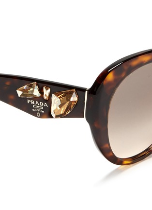 Detail View - Click To Enlarge - Prada - Crystal temple oval tortoiseshell sunglasses