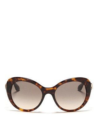 Main View - Click To Enlarge - Prada - Crystal temple oval tortoiseshell sunglasses