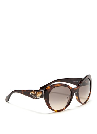 Figure View - Click To Enlarge - Prada - Crystal temple oval tortoiseshell sunglasses