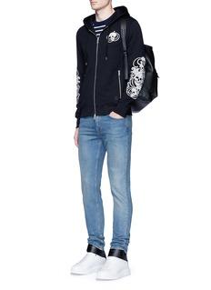 Alexander McQueenSkull embroidered organic cotton zip hoodie