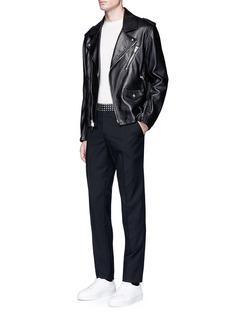 Alexander McQueenSkull medallion waist wool-mohair pants