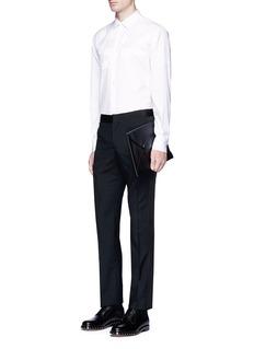 Alexander McQueenRibbon trim wool-mohair hopsack pants