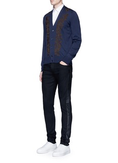 Alexander McQueen Slim fit leather outseam jeans