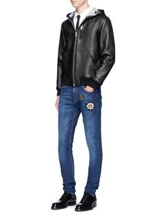Alexander McQueenLambskin leather zip hoodie