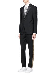 Alexander McQueenFloral metallic embroidered wool pants
